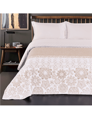 DeckoKing Bed Cover 170x210 ALHAMBRA BEIGE/WHITE