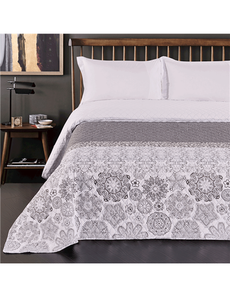 DeckoKing Bed Cover ALHAMBRA 170x270 WHITE/GREY