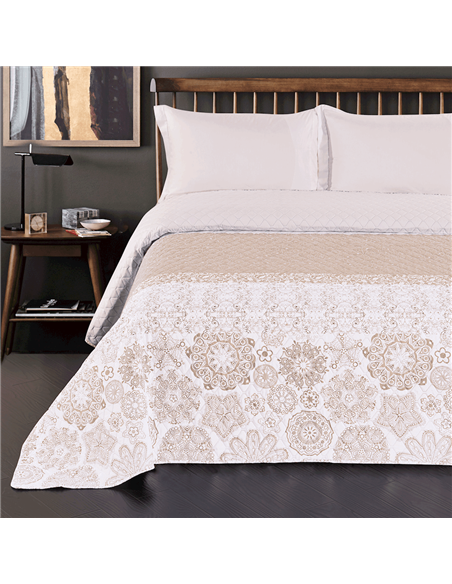 DeckoKing Bed Cover 170x270 ALHAMBRA BEIGE/WHITE