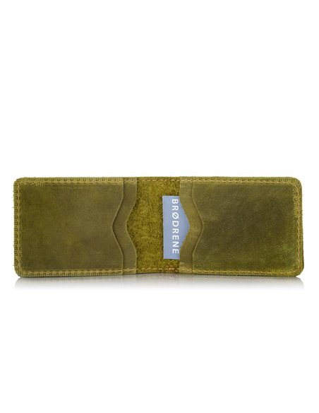 Super thin wallet made of brodrene sw02 green leather