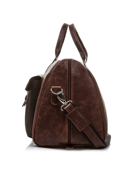 Leather weekend bag baleine lc1 dark brown