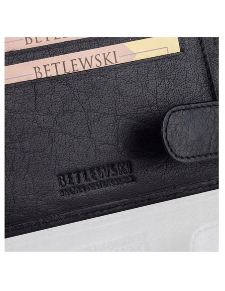 Leather men's wallet betlewski rfid bpm-bh 60 black