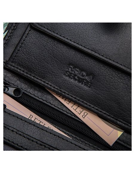 Betlewski men's wallet with a flap rfid bpm-bh 993 black