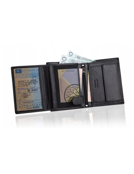 Black leather wallet rfid betlewski bpm-bh 62
