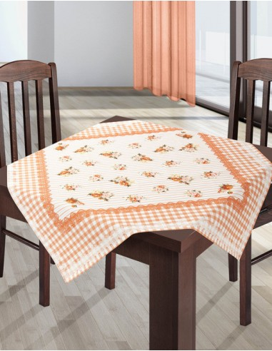 Eurofirany Tablecloth Roses 85X85 Orange